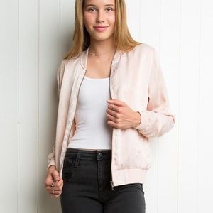 Brandy Melville bomber silk light pink jacket